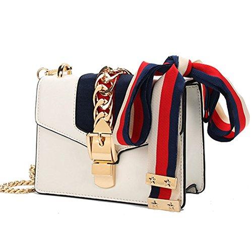 Macton MC-9008 Bolso para mujer, con correa para llevar en bandolera, cuero auténtico Small Size White