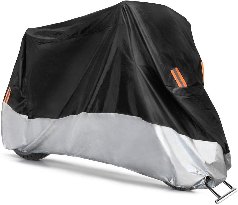 COFIT Funda para Moto, Cubierta de Motoa Impermeable, Anti Viento Polvo UV Lluvia Humedad Protector con Agujeros de Bloqueo - XXL