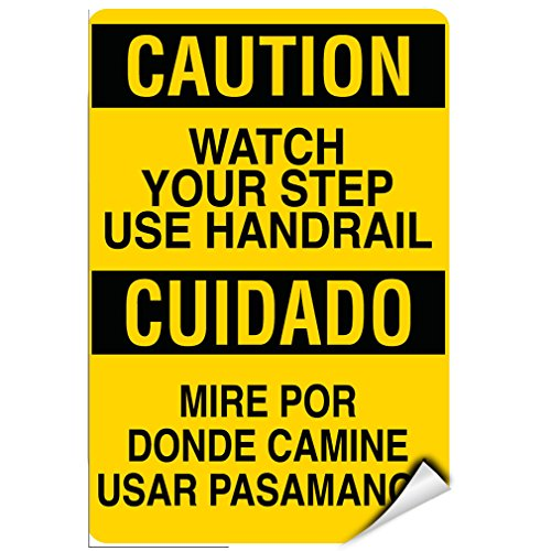 Caution Watch Your Step Use Handrail Hazard Sign LABEL DECAL STICKER 5 inches x 7 inches - Use Handrail