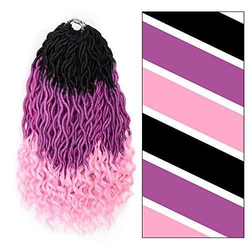 (GX Beauty Faux Locs Crochet Hair Ombre Pink Goddess Locs Braids Hair Curly Wavy Bohemian Faux Locs Braiding Hair Extensions(Black/Purple/Pink))