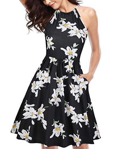 KILIG Women Halter Neck Floral Sundress with Pockets