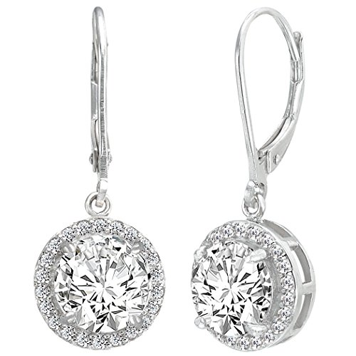 EVER FAITH 925 Sterling Silver Elegant Round CZ Prong Setting Leverback Dangle Earrings (Silver Zircon Earrings)