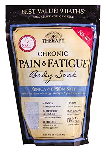 Village Naturals Pain + Fatigue Body Soak Salt 36 Ounce (Pack of 2) (Muscle Aches And Joint Pain And Fatigue)