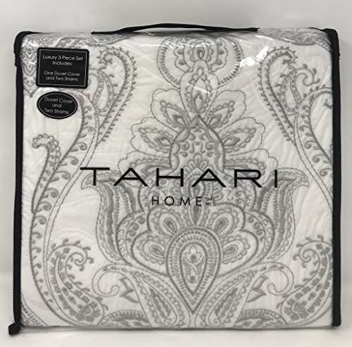 Tahari Home 100% Cotton Quilted Floral Damask 3pc Full Queen Duvet Cover Set Textured Stitching Embroidered Medallions (Silver, (Embroidered Floral Duvet)