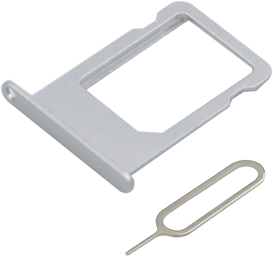 MMOBIEL SIM Card Tray Slot Compatible with iPhone 5S / SE 4.0 inch (Silver) incl Sim pin