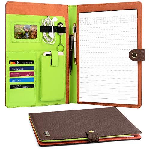CORNMI Travel Portfolios, Padfolio Portfolio Case with 5 Card Slots & Phone/iPad Pockets+ Transparent Frame -4 Ring Presentation Office Organizer, Professional Documents Binder Case