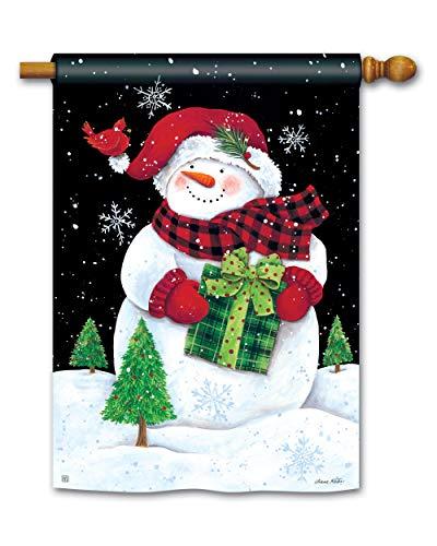 BreezeArt Studio M Buffalo Check Snowman Winter Standard House Flag Banner - Premium Quality, 28 x 40 Inches (Snowman Check)