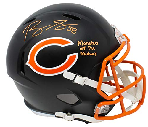 Midway Signed Replica Helmet - Roquan Smith Signed Chicago Bears Flat Black Matte Riddell Speed Full Size Replica Helmet w/Monsters of the Midway
