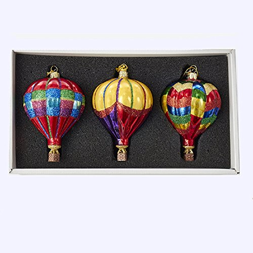 Kurt Adler 3.5-Inch Noble Gems Glass Hot Air Balloon 3-Piece Ornament Set (Air Hot Glass Balloon)