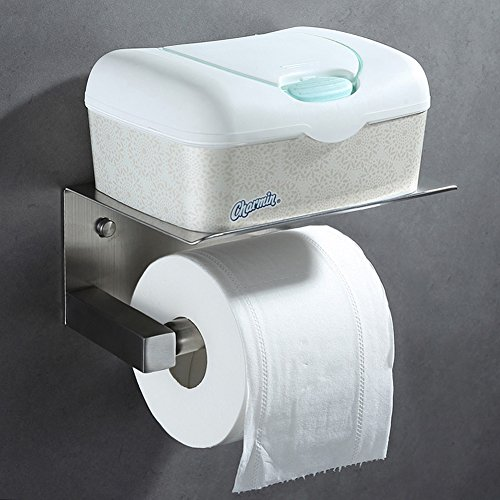 Cheap  Angle Simple Spring Loaded Toilet Paper Holder with shelf, SUS304 Stainless Steel..
