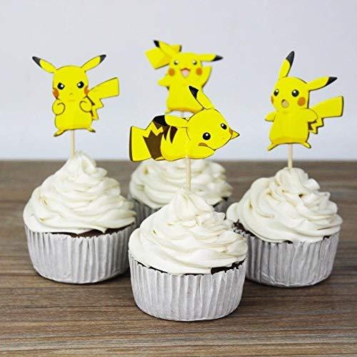 24x Cupcake Topper Picks - Pokemon Theme Decoration Favors Cake Cupcake Topper kids birthday party 24pcs ()