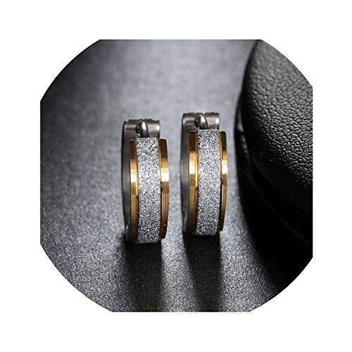 Firenze Gold Wall - Earring HIGO-Buy Stainless Steel Earrings for Women Men Fashion Hoop Piercing Round Earring Ear Stud Jewellry,Gold Silver