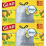 Glad Tall Kitchen Drawstring Trash Bags – ForceFlexPlus 13 Gallon White Trash Bag, Febreze Fresh Lemon Scent – 40 Count Each (Pack of 2)