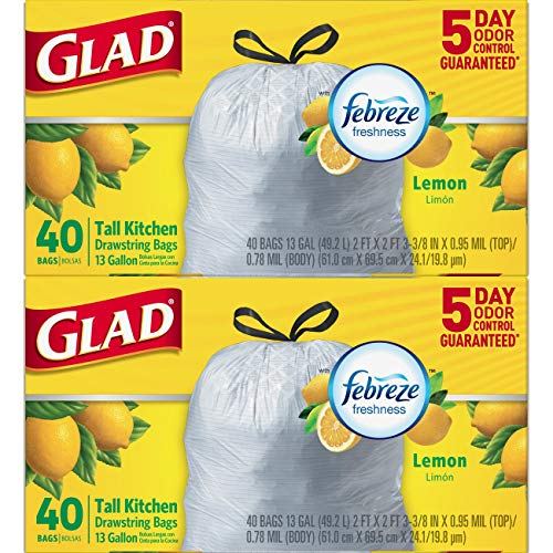 Glad Tall Kitchen Drawstring Trash Bags - ForceFlexPlus 13 Gallon White Trash Bag, Febreze Fresh Lemon Scent - 40 Count Each (Pack of ()