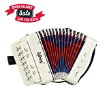 Accordion, Mugig Kids Accordion, Ten Keys Toy Accordion, Solo and Ensemble Instrument, Musical Instrument for Early Childhood Teaching (white)