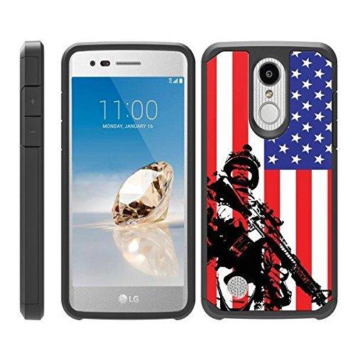 TurtleArmor | Compatible for LG Aristo 3 Case | Zone 4 | Tribute Empire | Risio 3 | Hybrid Slim Armor Shell Case Robot Military Army Design - American Soldier