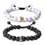 EnjoIt Couple Distance Bracelet Diffuser Beads Crown Queen Bracelets Matte Agate & White Howlite Lava Stone