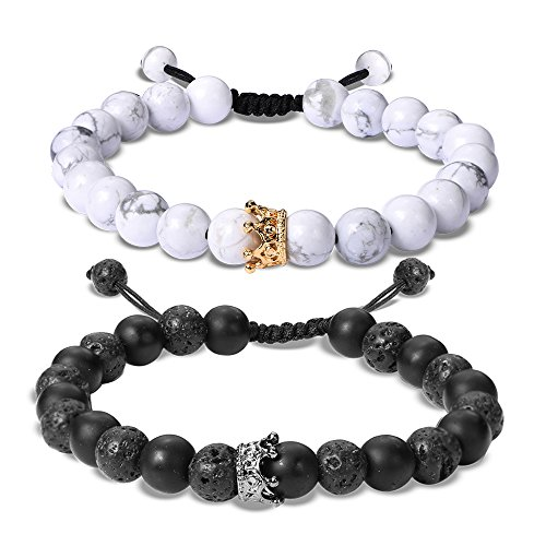 EnjoIt Couple Distance Bracelet Diffuser Beads Crown Queen Bracelets Matte Agate & White Howlite Lava Stone (Adjustable Black Crown1)