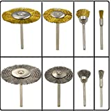 DerBlue 40Pcs Brass Steel Wheel Brushes Dremel Accessories for Rotary Tools