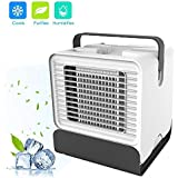 COSANSYS Multifunction Portable Air Conditioner 3 speeds Personal Mini Box Fan Energy Saving Evaporative Cooler Misting Air Humidifier for Bedroom Office,Travel-13 * 22cm,150ml,White