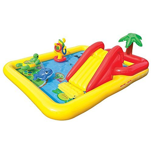 (Kids-Inflatable-Pool. Small Kiddie Blow Up Above Ground Swimming Pool is Great for Kids & Children to Have Outdoor Water Fun with Slide, Floats & Toys. This Ocean Baby Swim Pool - Light & Portable.)
