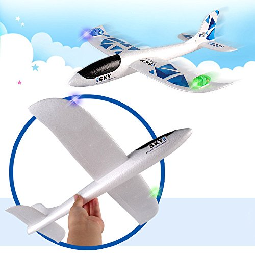 JUSTnowok Foam Throwing Glider Inertia Led Night Aircraft