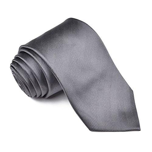 VOBOOM Men's Necktie Silk Tie Woven Jacquard Neck Ties Solid Color Herringbone Pattern Gift Box (301-Gray, Long (58