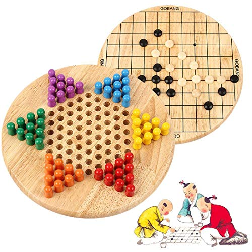 - Wondertoys 2 in 1 Chinese Checkers & Gobang (Five in a Row) Wooden Board Game for Family