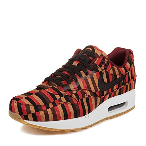 NIKE Mens Roundel Air Max 1 Woven SP London Underground White/Black-Pomegrenate Fabric Athletic Sneakers Size 8 (Mens Shoes London Underground)