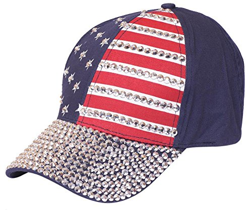 Patriotic Jewelry (BlingThing Rhinestone Jewelry Hats baseball Cap Adjstable Ladies (NAVY))