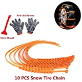 10 PCS Snow Tire Chain Portable Emergency Traction Aid Anti-slip Chain Vehicle for Car Truck SUV Anti-Skid Emergency Winter Driving (With gloves and snow shovels)