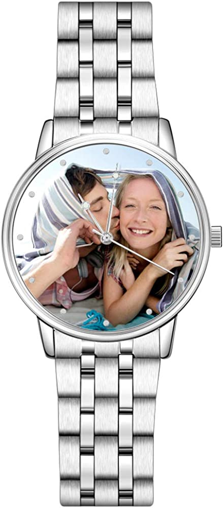SOUFEEL Reloj Analógico Personalizados con Foto con Pulsera de Correa de Piel Vaca Reloj Cuarzo Ultra Delgada 40mm Plata