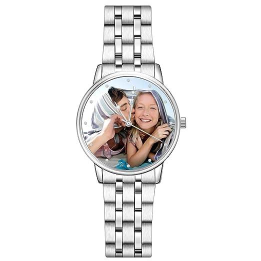 SOUFEEL Reloj Analógico Personalizados con Foto con Pulsera de Correa de Piel Vaca Reloj Cuarzo Ultra Delgada: Amazon.es: Relojes
