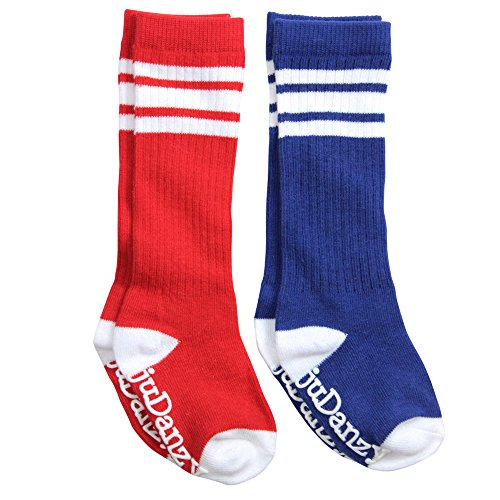 (juDanzy knee high tube socks for boys, girls, baby, toddler & child (4-6 Years, Blue & Red with White Stripes))