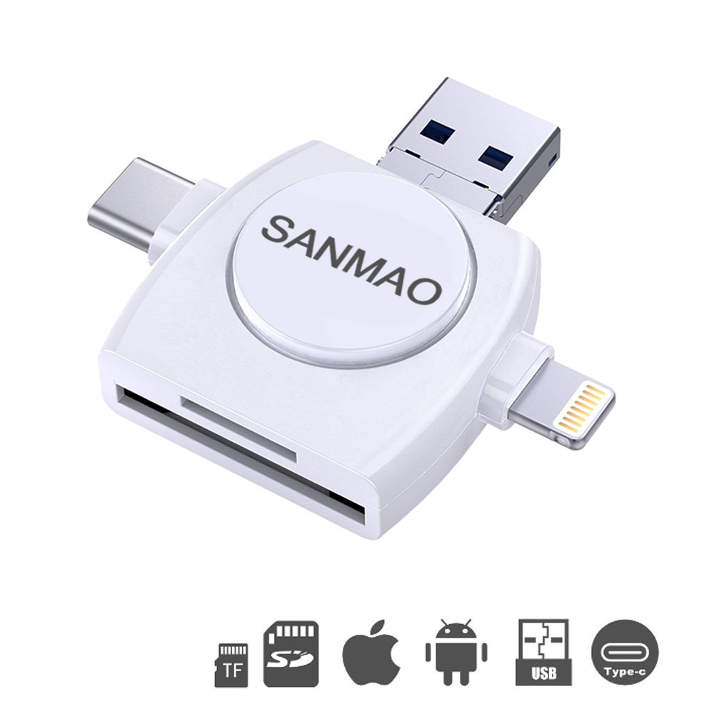 SD/TF Card Reader/Drive , SANMAO Memory Card Camera Reader Adapter for iPhone/iPad/Android/Mac/PC/New MacBook. 4 in 1 With Lightning,Micro USB,Type C,USB Connector(white)