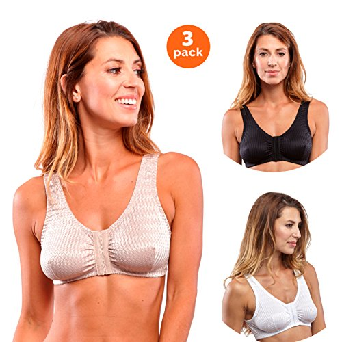Carole Martin Full-Freedom Wireless Comfort Bras - 3 Pack White, Beige, (Hook Comfort Bra)
