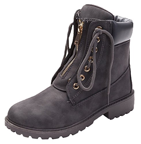 Outdoor Boots Trekking Gray Lace DADAWEN Women's Ankle Zip Dark Up Combat 4qx6ffHw5