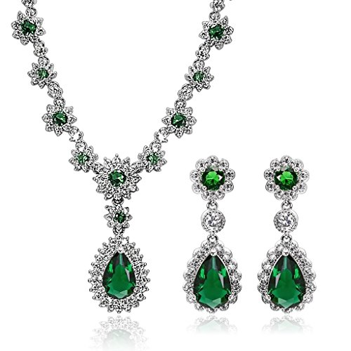 KnSam Women Platinum Plate Flower Teardrop Green Necklace Earring Set Crystal[Novelty Bridal Jewelry Set] by KnSam