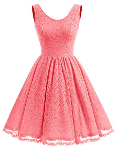 Coral Party Women Dress Prom Floral Short Lace Dress Bridesmaid ALAGIRLS Back V Z1P7nw