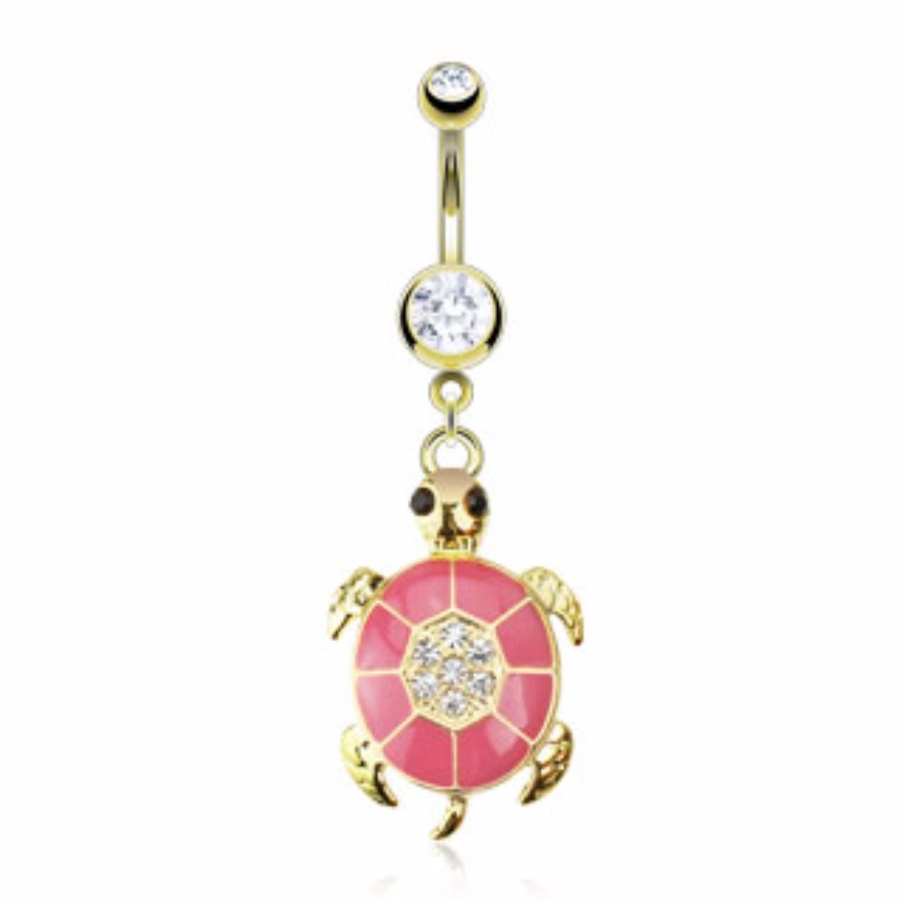 Steel Gold Plated Navel Ring Turtle Pink Epoxy Paved Gem Freedom Fashion 316L S