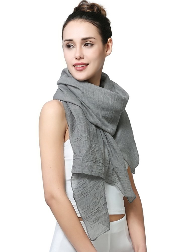 MissShorthair Womens Long Scarf in Solid Color Large Sheer Shawl Wraps for Evening (Light Grey)
