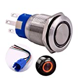 Momentary Push Button Switch, URTONE UR199, 1NO1NC Stainless Steel Shell with 12V Red LED Ring Suitable for 19mm 3/4