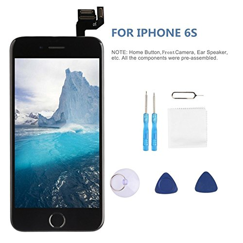 Screen Replacement LCD Display for iPhone 6s LCD Touch Screen Digitizer Replacement Full Assembly with Repair Tool Kit White Black (Black, IPhone 6s) by i DIY (Image #1)