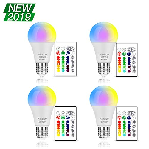 - RGB LED Light Bulbs Remote Control, A19 E26 Edison Screw Base, RGBW Dimmable Color Changing Bulb 60W Equivalent, 16 Colors Memory Function Decorative Lights for Bar, Stage, Home, Party, 4-Pack