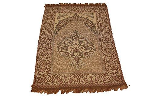 Islamic Quality Goblen Silk Brocades Islamic Prayer Rug Janamaz Sajjadah Muslim Namaz Seccade Turkish Prayer Rug (Purple) (Silk Turkish Rug)
