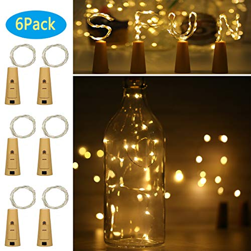 Wine Bottle Lights with Cork, 6 Pack Battery Operated 10 LED Silver Copper Wire Fairy String Lights for DIY, Party, Decor, Christmas, Halloween,Wedding (Warm White, General Version)