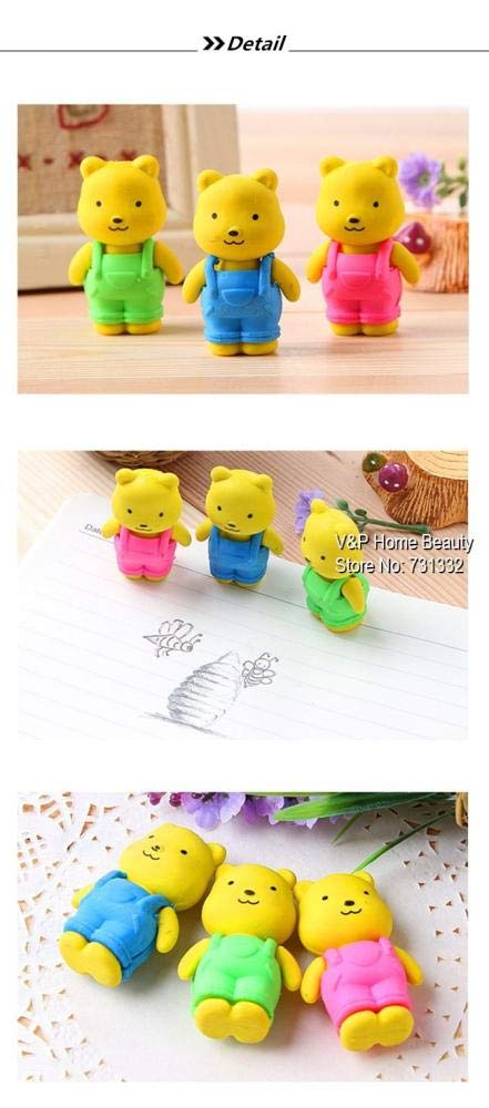 30 pcs/Lot Teddy bear Erasers rubber for pencil Removable BIB PANTS Novelty Toy gift stationery Office supplies by PomPomHome (Image #4)