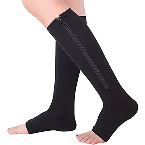 adb03cf2bf Ailaka Zipper Medical Compression Socks for Women and Men, Knee High Open  Toe Firm Support