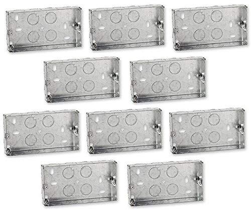 10 x Double Metal Back Box 25mm Flush Wall Pattress / 2 Gang Electrical Sockets Homesmart