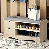 Best to Buy SHOE RACK - Elegant Premium Wooden Shoes Organizer, Storage, Cabinet, Holder Bench with 2 drawers and removeable Soft Seat Cushion for Entryway, Hallway. Solid Nordic Wood (Brown)